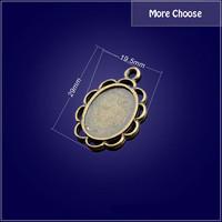 Wholesale Mix 50 pcs Vintage Charms Gear Pendant Antique bronze Gem base Fit Necklace DIY Metal Jewelry Making Free shipping