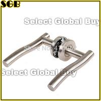Brushed Stainless Steel Internal Undee Door Handles on Rose 1 Pair (Tpye 2)