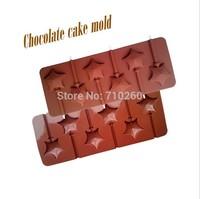 Cartoon cute 6 even star shape lollipop silicone bakeware, ultra-soft, easy to mold, DIY handmade molds, chocolate mold