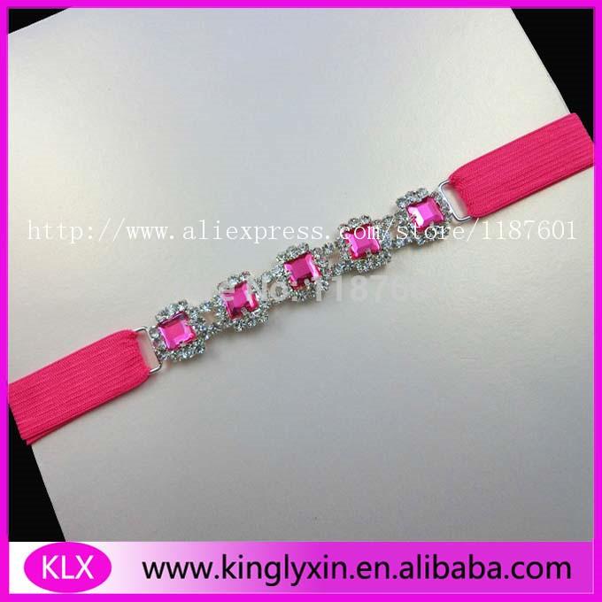 Free shipping! 100pcs/lot square hot pink rhinestone headband connector for hair accessory elastic ,rhinestone buckle(China (Mainland))