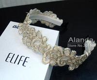 12pcs/lot, high grade lace embroidery flower wide hairband feminine lady lace headband T8111 free shipping (black beige)
