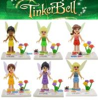 JLB 6pcs/lot Girls Fairies Tinker Bell Friends minifigures block toys Girls Friends Princess building blocks