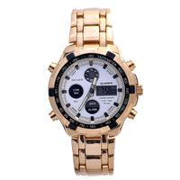 fashion trends men's watch LED dual movement watch upscale steel watch band Luminous watch Clock