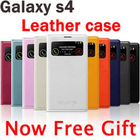 S-View Flip Leather Case For Samsung Galaxy S4 i9500 Cover phone bags cases Dormancy Function Touch View Screen Automatic Power
