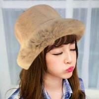 Korean children warm winter cap rabbit hair basin cap thickened pure rabbit hair hat knitting wool cap hat