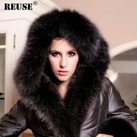 Reuse fashion plus size fashion thickening detachable super large fox fur high quality luxury blue fox fur down coat