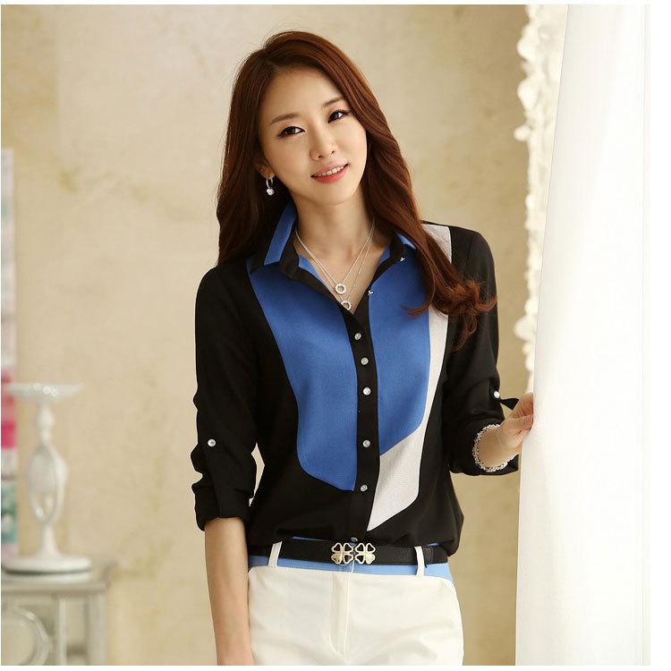 & schwarze kleidung blusas roupas klassischen chiffon-shirt t-to