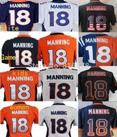 cheap American Football jersey  #18 Peyton Manning jersey game elite for mens / women / kids white orange blue Jerseys in china