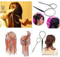2pcs/set Magic Hair Styling Tools Topsy Tail Braid Hair Maker Black Ponytail Styling Tools Hair Accessories/Curler Hair Clip