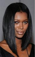 Cheap black silk straight bob cut   human hair lace front wig