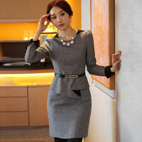 New arrival 2014 autumn and winter woolen one-piece dress faux two piece set dress slim plus size clothing long-sleeve basic