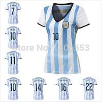 Argentina World Cup 2014 logo embroidered women's shirts freedom to customize Kun Aguero Tevez Messi Soccer Jersey Dimaliya
