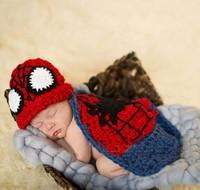 Superman Crochet Handmade Photo Props Toddler Hat Cover Set Infant Nursling Knitting Wool Costume 5set FreeShipping MZS-14082