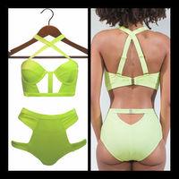 2015 women Bandage Bikinis Set Cut Out swimsuit Biquini Push UP Hollow Out Swimwear High Wasit bathing suit bikini Neon
