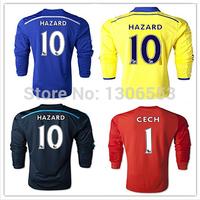 2015 Top Thai Quality Chelsea Long Sleeve Jersey HAZARD DIEGO COSTA DROGBA OSCAR Soccer Jerseys 14/ 15 Blue Black Yellow