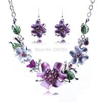 Hot 2015 Fashion Beautiful Enamel Flower Sweet Luxury Dress Party Necklace Earrings Jewelry Set for lady, item no.: MD027
