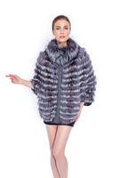 BG80152 Novelty 2014 Women 100% Real Silver Fox Fur Jacket Winter Fashion Fur Shawl Wholesale Customize