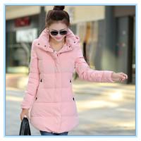 S-3XL 2014 winter women down wadded jacket cotton-padded jacket small medium-long slim cotton-padded jacket plus size outerwear