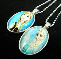 12pcs Frozen Time Gem Pendant Necklace, Anna Lisa Princess Christmas Jewelry.Free Shipping