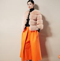 2014 hot winter fashion fox fur rabbit fur patchwork three quarter sleeve faux overcoat women outerwear