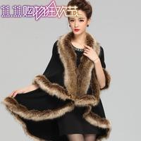 2014 autumn and winter raccoon fur cape outerwear wool overcoat cloak cape long design sweater cardigan fur coat