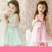 2015 new summer girls dress bow cute Cotton Halter Princess Dress baby kids clothes,14NOV33
