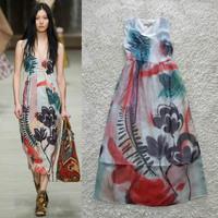 New European Style Desigual Women Long Maxi Dresses Fashion Print Evening Party Dresses Vestidos Branco Free Shipping W114A2