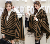 free shipping new arrival cashmere warm women striped tassel thicken large wool pashmina/winter warm wool scarf shawl pashmina