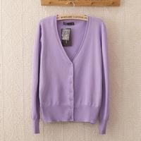 2014 autumn  neon color roll-up hem long-sleeve cardigan female sweater basic short jacket