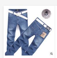 Wholesale men's jeans Male waist jeans Straight jeans trousers