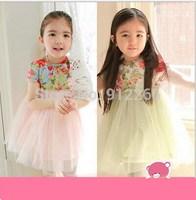 2015 new girl dress Korean flowers yarn high waisted Princess Dress with free Brooch,14NOV32