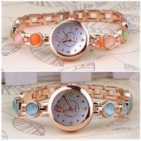 2014 Quartz OL Wrist Watch Fashion Women Ladies Bracelet watch Rhinestones Opal Gold Plated Wrist watch FMHM568#S5