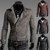 Men's Trench Coat 2014 New Motorcycle Riding Short Casual PU Leather Coat  DJK17C