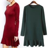 New European Rffle Flounced Slim Women Dress Winter Office Basic Dress