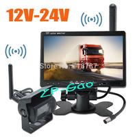 "12V-24V 18 IR LED Wireless Car Bus Truck Rear View Kit  CCD Reversing Camera + 7"" LCD Monitor Free Shipping"
