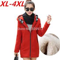 2014 Korean style plus size casual winter jacket women thick warm fleece hoodies outwear sweatshirts cardigan XL-4XL size