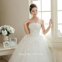 HOT Free shipping new 2014 white princess fashionable lace wedding dress romantic tulle wedding dresses HS115