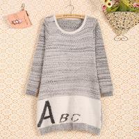2014 Hitz female Korean knit shirt wholesale fashion stitching round neck long-sleeved sweater letters