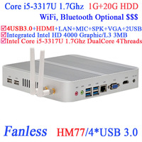 HOT SELLING intel core i5 3317U fanless mini pc with wifi and hdmi 1G RAM 20G HDD for HTPC Industrial Small PC