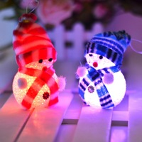 Free Shipping 6pcs/lot 2014 NEW Christmas decoration plastic Scarf light Snowman doll christmas ornament light snowman supplies