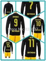 New Fashion Dortmund Kehl Reus Mkhitaryan Aubameyang Soccer Jersey 2014-2015 Gundogan Long Sleeve Black Ji Uniforms kIT Jerseys