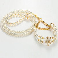 Luxury pet cat dog collar and lead with white pearls and golden beads and electroplated clasp & chian for women Free Shipping