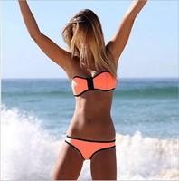 High Quality Swimwears Triangl Women's Fashion Neoprene Bikinis Summer 2014 Sexy Swimsuit Bath Suit Push Up Bikini set Bathsuit