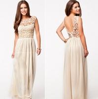European Brand 2014 New Fashion Women Long Lace & Chiffon Dress Sexy & Elegant  Evening Party Dress Vestido Free Shipping