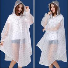 2014 Fashion EVA Polka Dots Raincoat Electric Bicycle Bike Rain Coat Women Transparent Cloak Sleeve Rain Ponchos Chubasquero(China (Mainland))