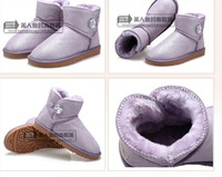 2015 new genuine leather   snow boots  women shoes plus size 44  short tube boots 5854 buckle boots