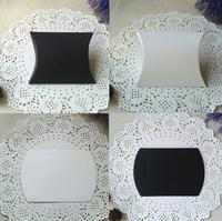 "100pcs Black+100pcs White Matt Wedding Favor Box Party Jewelry Gift  Foldable Garment Paper Pillow Boxes  10x8.5cm(4""x3.3"")"
