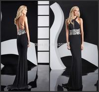 Halter Hot Sell Sexy Backless Beading on the Waist Mermaid Black Chiffon Evening Dress vestidos Plus Size Party Evening Dresses