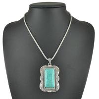 Fashion Jewelry Wholesale New 2015 Tibetan Vintage Bohemia Turquoise Bead Stone Silver Long Chunky Pendant Necklace For Women
