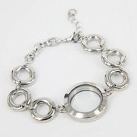 2014 New design high quality 25mm Crystal 316L Stainless Steel bracelet magnet floating locket bracelet 10pcs/lot LB-021